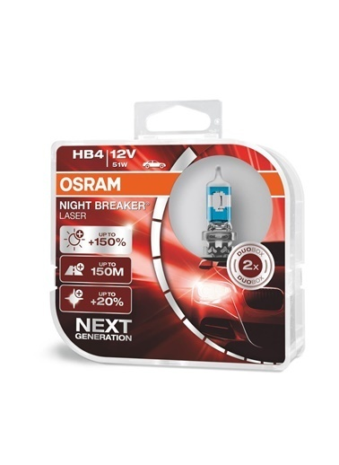 Osram Osram Night Breaker Laser HB4 9006 Ampül %150 Fazla %20 Işık Renkli